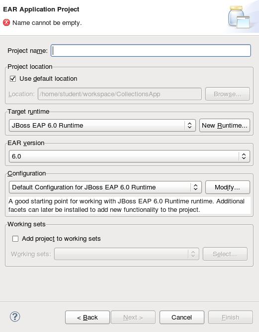 New EAR Application Project Wizard