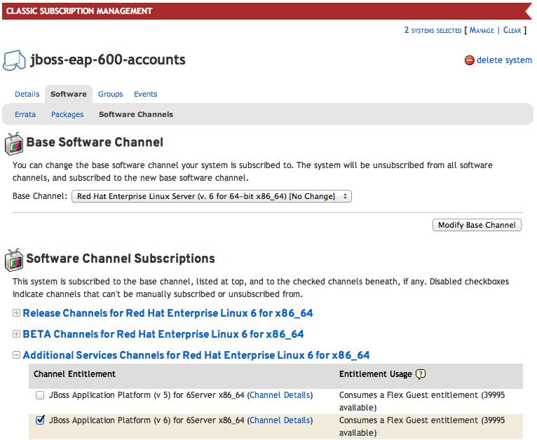 JBoss Enterprise Application Platform 6 の RHN インストールに対して設定されたシステム