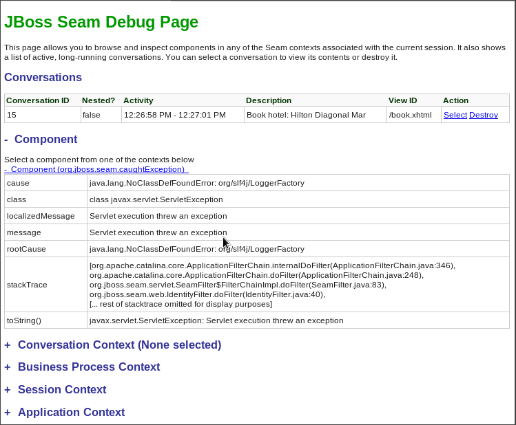 Component org.jboss.seam.caughtException information
