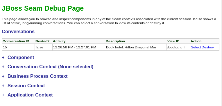 JBoss Seam Debug Page