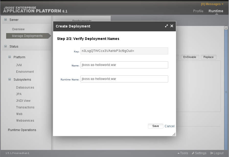 Verify deployment names