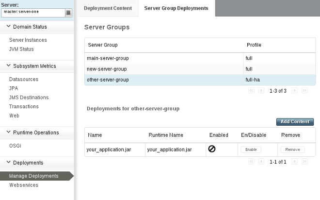 Confirmation of application undeployment from a server group