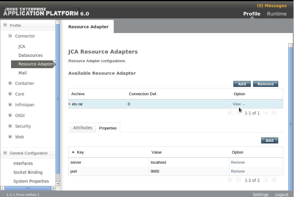 Resource Adapter Server Properties Complete