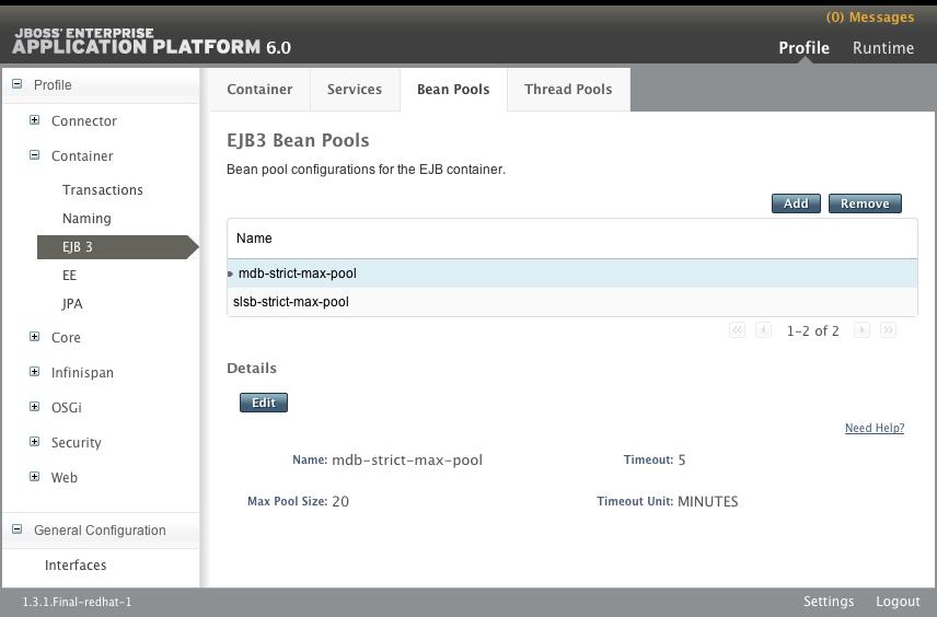 EJB3 Bean Pools Panel