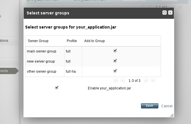 Select server groups for application deployment