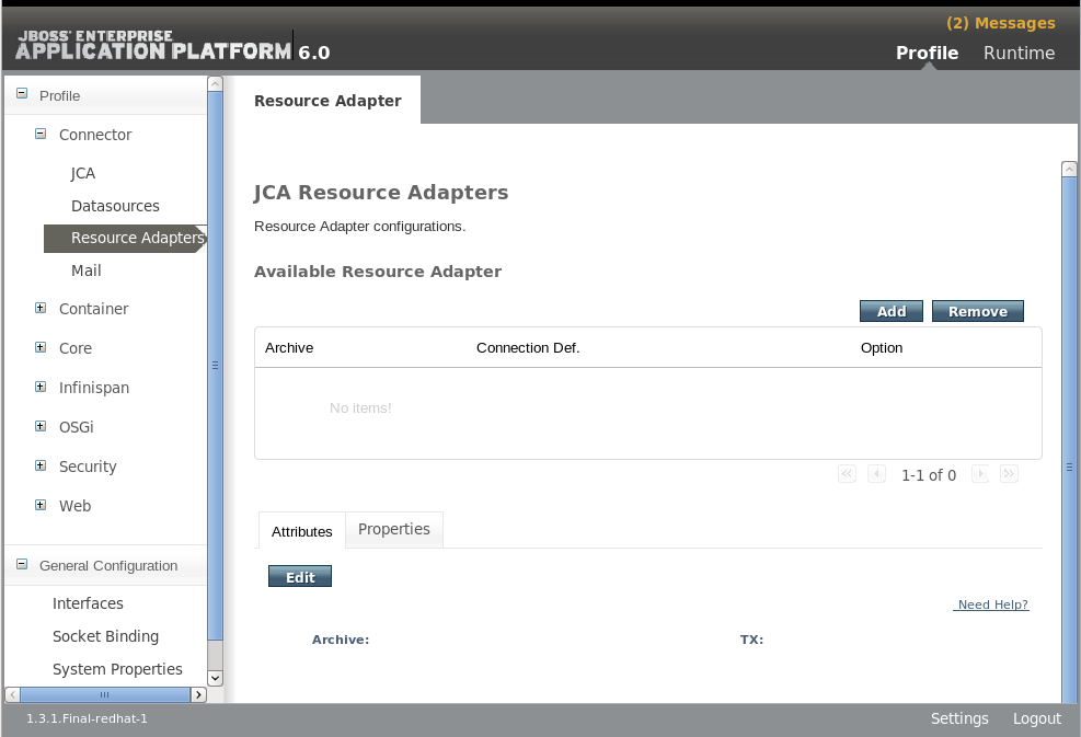 JCA リソースアダプター