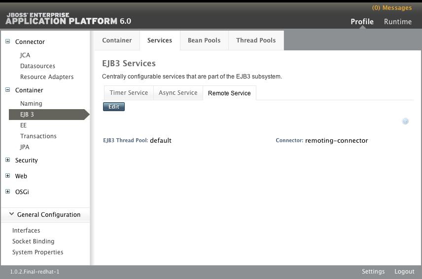 EJB3 Services パネルの Remote Service タブ