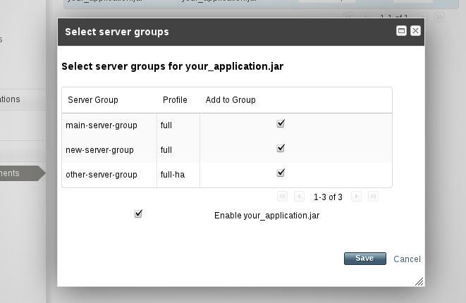 アプリケーションデプロイメントでのサーバーグループの選択