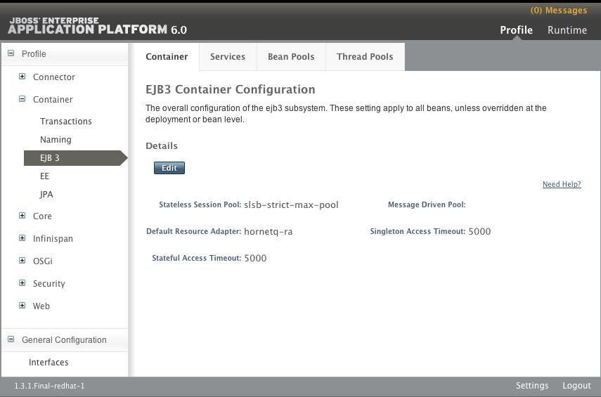 管理コンソールの EJB3 コンテナー設定パネル (スタンドアロンサーバー)