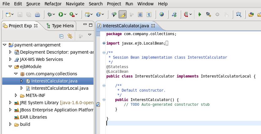 JBoss Developer Studio の新しいセッション Bean