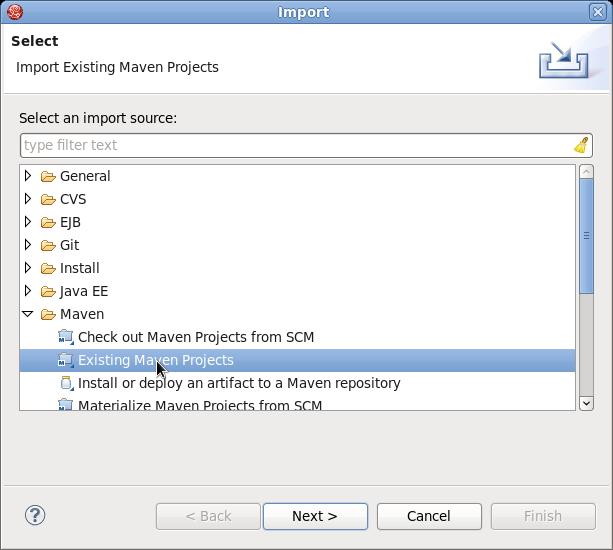 既存の Maven プロジェクトのインポート