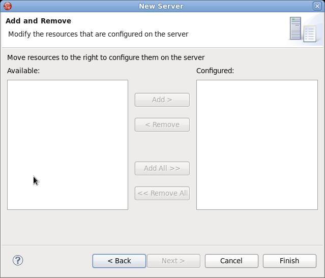 新しい JBoss サーバーのリソースの変更