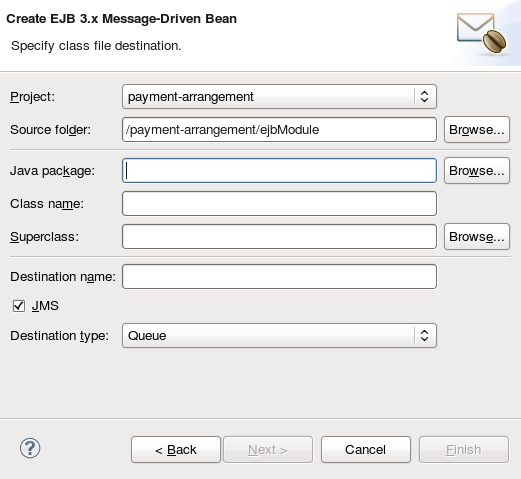 Create EJB 3.x Message-Driven Bean ウィザード