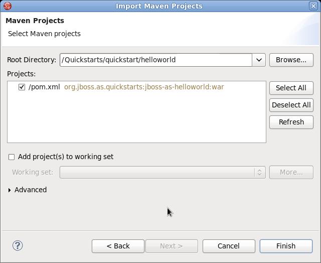 Maven プロジェクトの選択