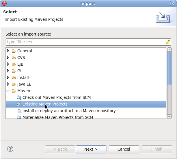 Import Existing Maven Projects