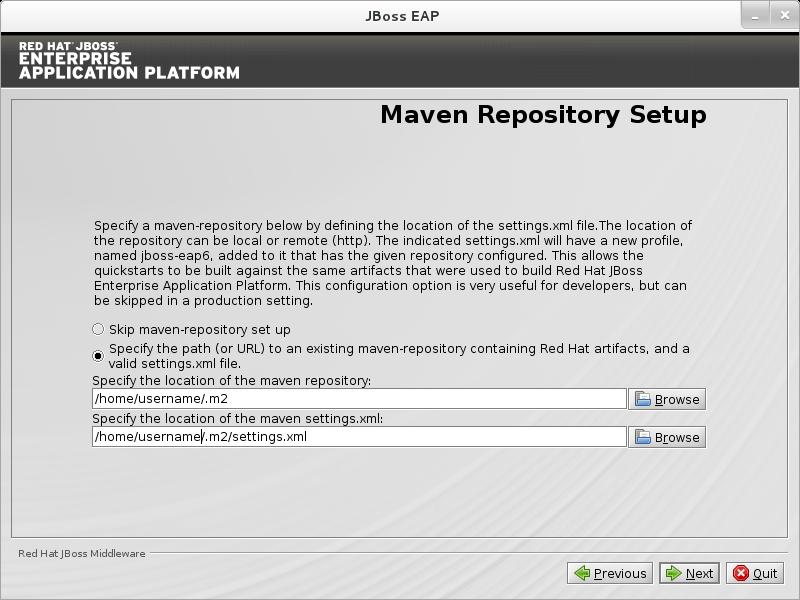 Configure the JBoss EAP Maven Repository.