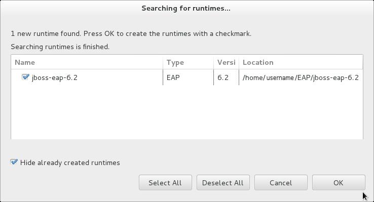 Window showing JBoss Enterprise Application Platform 6.2 found by Runtime Detection.