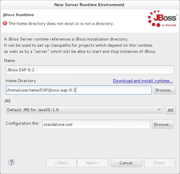 Add New Server Runtime Environment