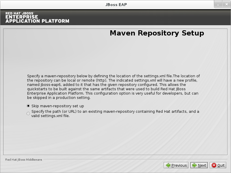 Skip Configuration of the JBoss EAP Maven Repository.