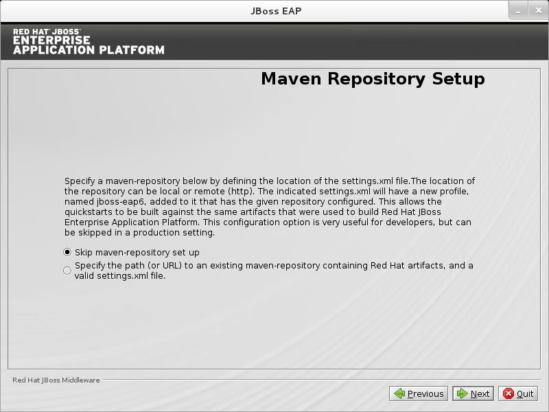 Skip Configuration of the JBoss EAP Maven Repository.
