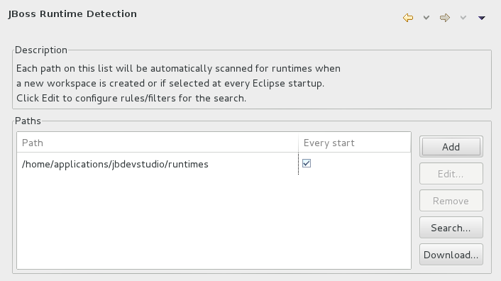 Click Window→Preferences, expand JBoss Tools and select JBoss Runtime Detection.