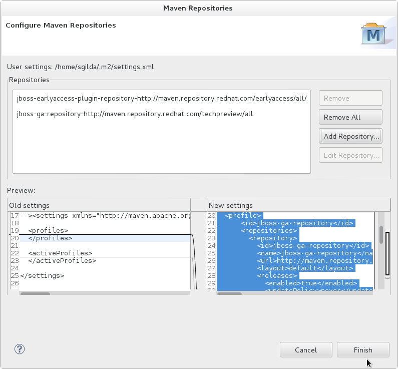 Review Maven profile and repository values.