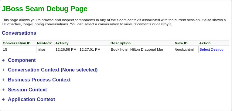 JBoss Seam Debug Page