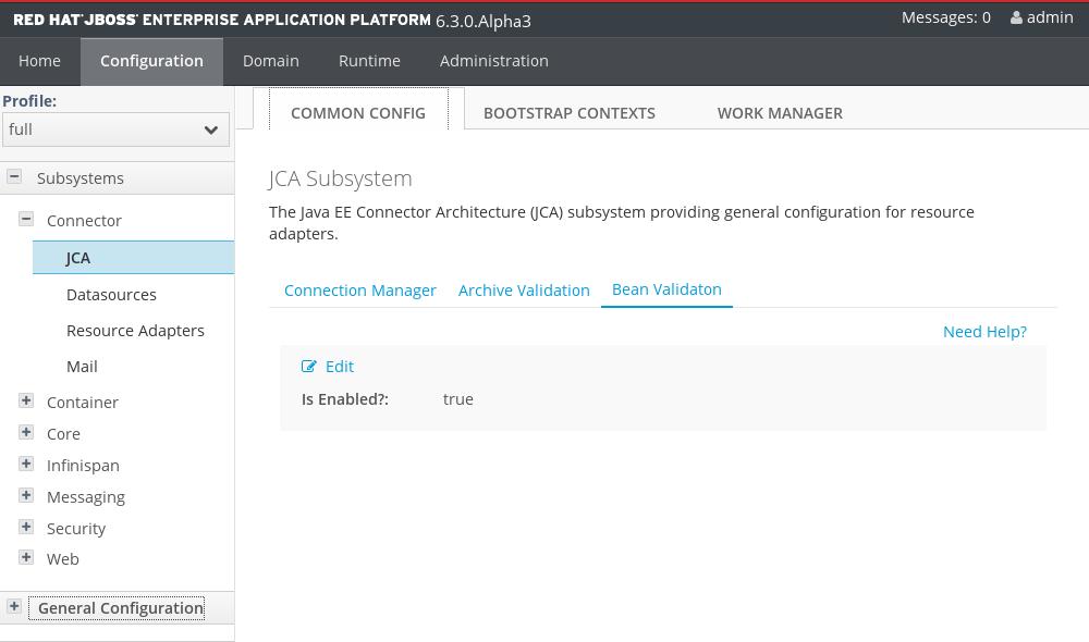 Configuration commune JCA
