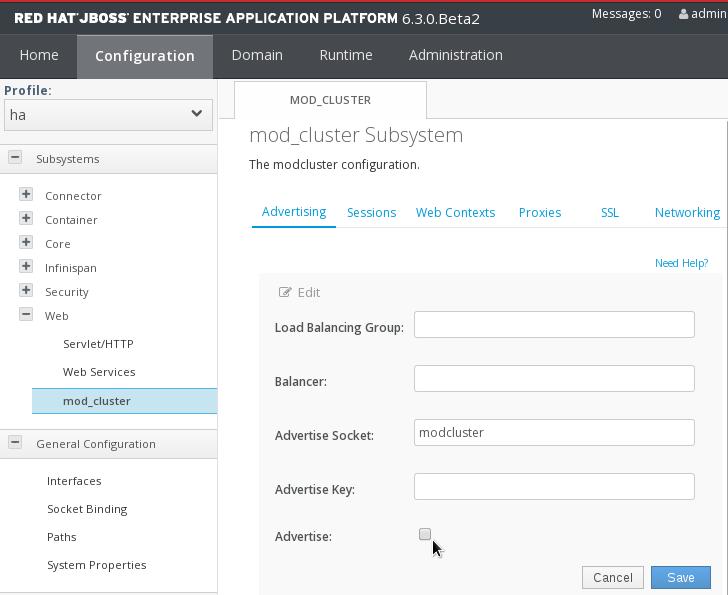 Écran de configuration de publicité mod_cluster