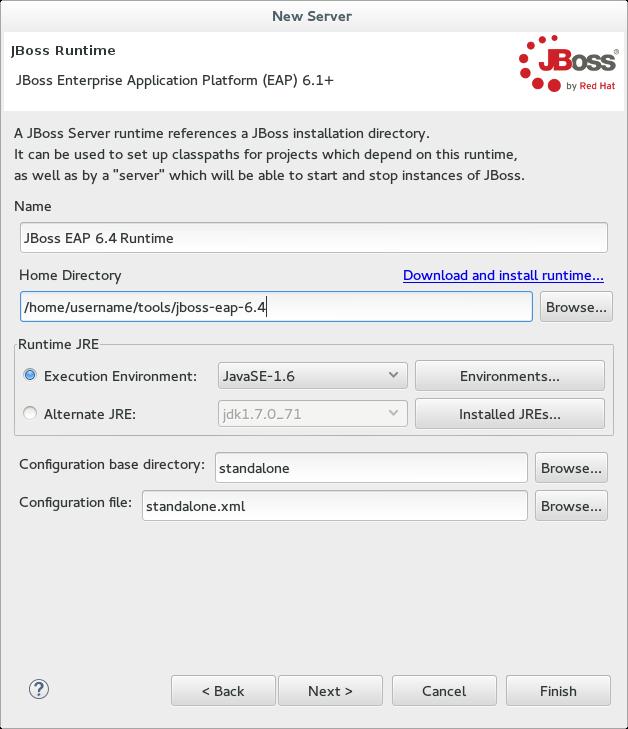 Hinzufügen einer neuen Server Runtime Umgebung