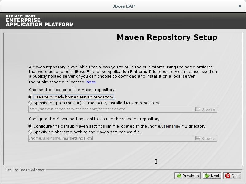 JBoss EAP Installationsprogramm: Einrichten des Maven-Repository