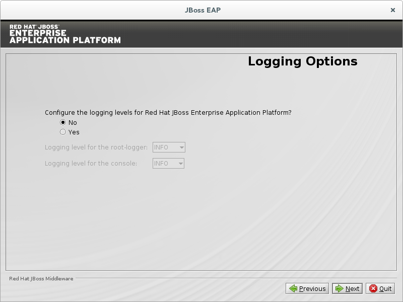 Choose No to skip configuration of logging level.