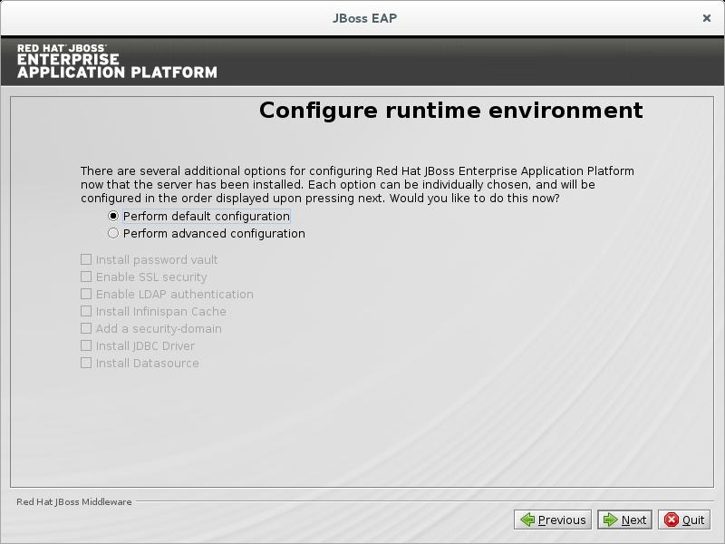 Entorno del tiempo de ejecución de la configuración del programa de la instalación de JBoss EAP - Predeterminado