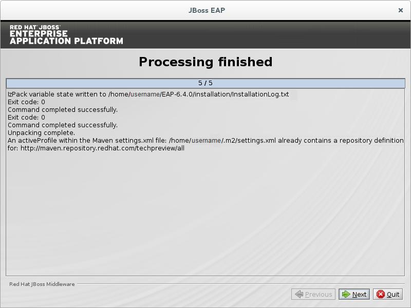 Procesamiento del programa de instalación JBoss EAP completado