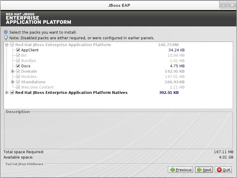 Paquetes de selección del programa de instalación de JBoss EAP a instalar