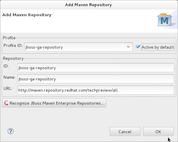 Enter Maven profile and repository values.