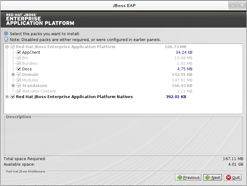 Packages à installer sélectionnés pour le Programme d'installation de JBoss EAP