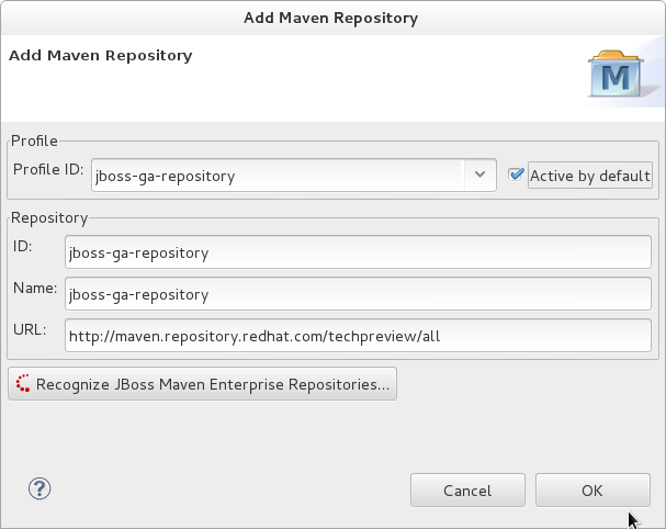 Enter Maven profile and repository values.