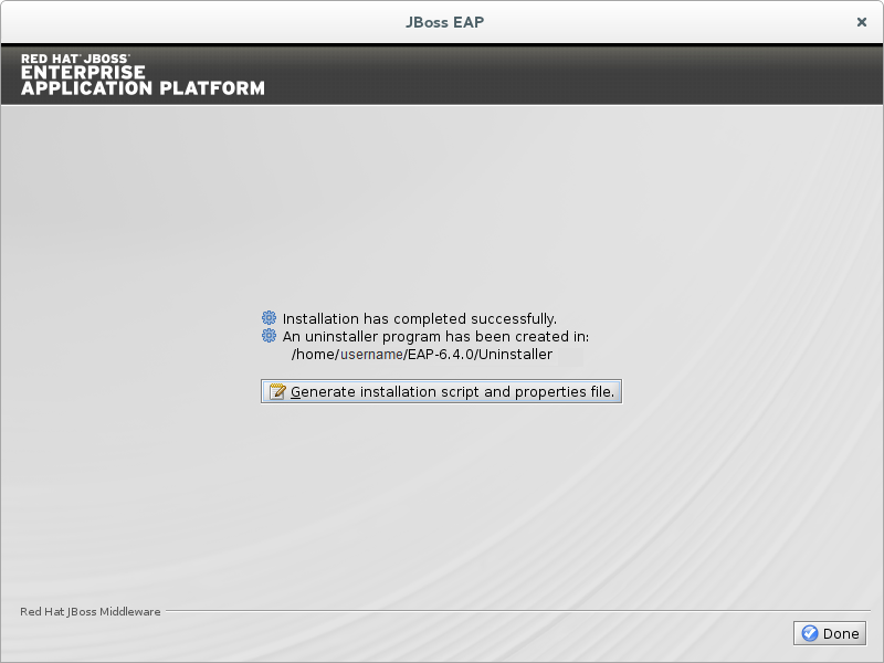 Choose whether to generate an installation script containing the selected install options. Then click Done to finish.