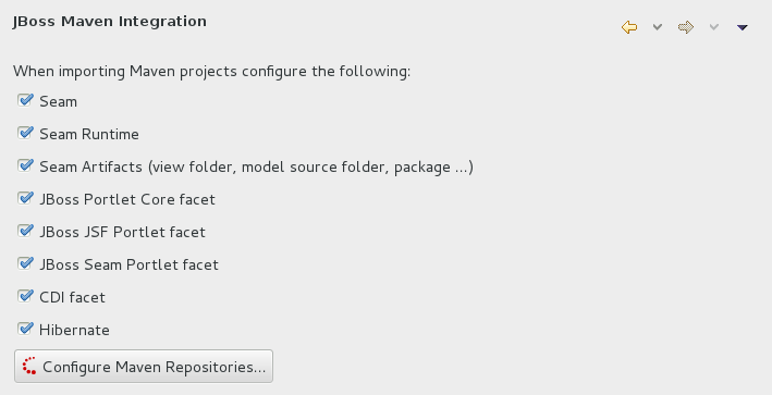 Click Window→Preferences, expand JBoss Tools and select JBoss Maven Integration.