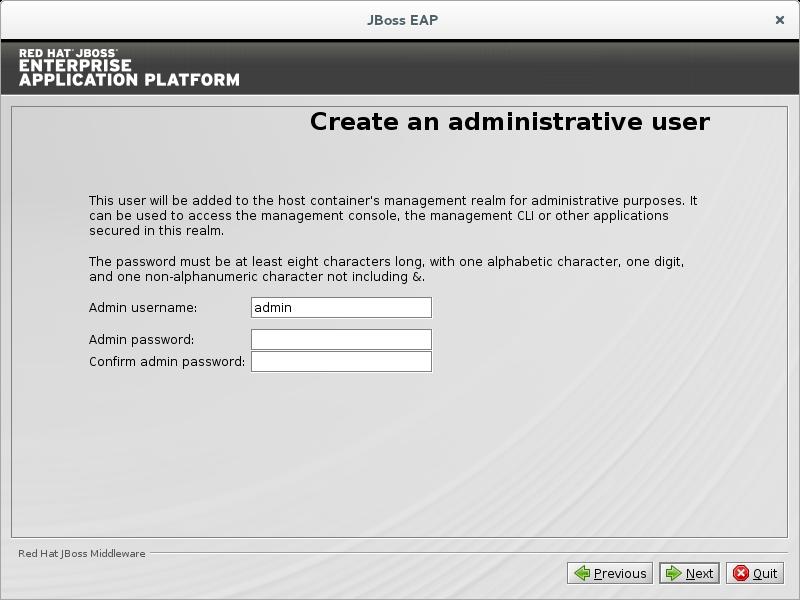 Create an administrative user.