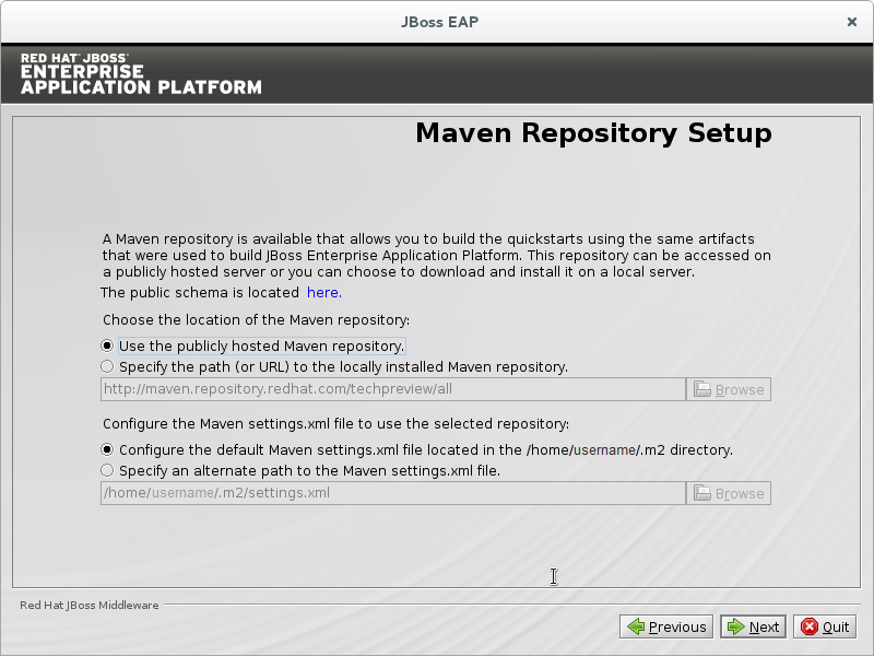 Configuração do Repositório Maven do Programa de Instalação do JBoss EAP