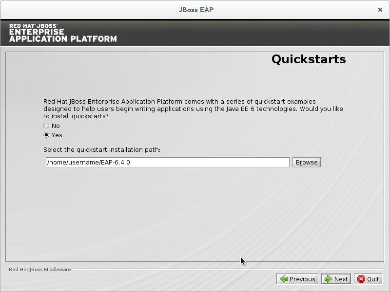 Install the JBoss EAP quickstarts.