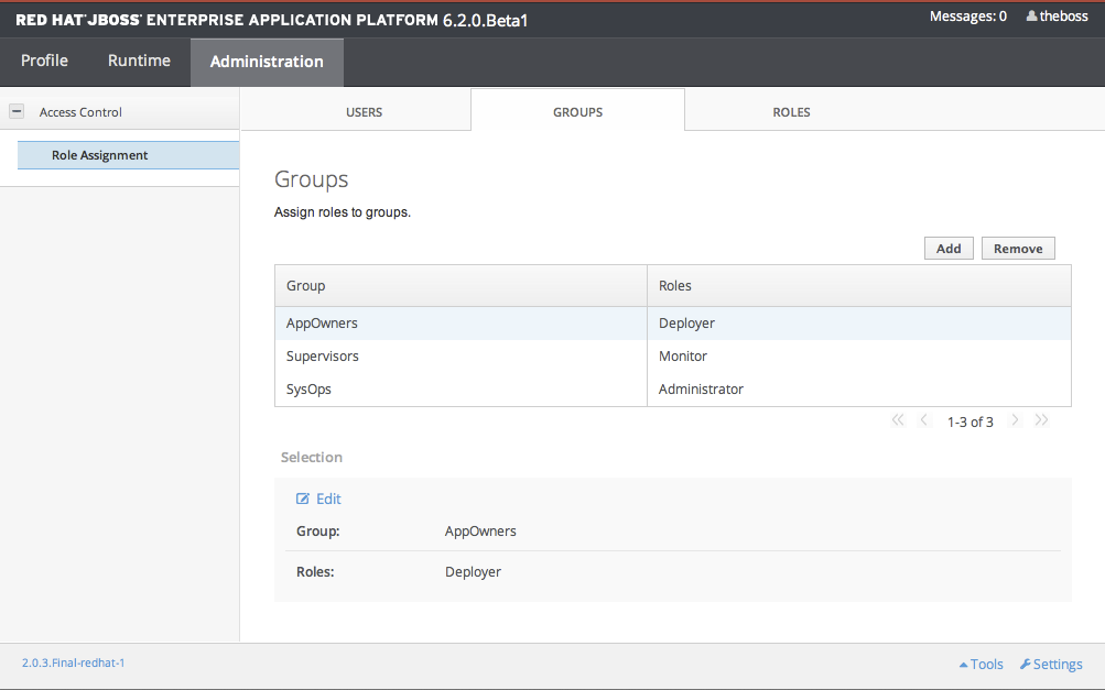 Screenshot of Group Role Management in the Management Console