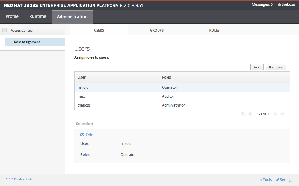Screenshot of User Role Management in the Management Console