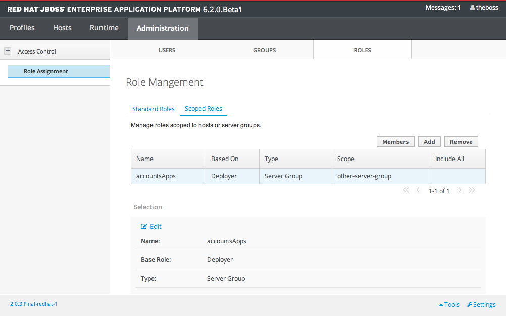 Scoped Role Configuration in the Management Console