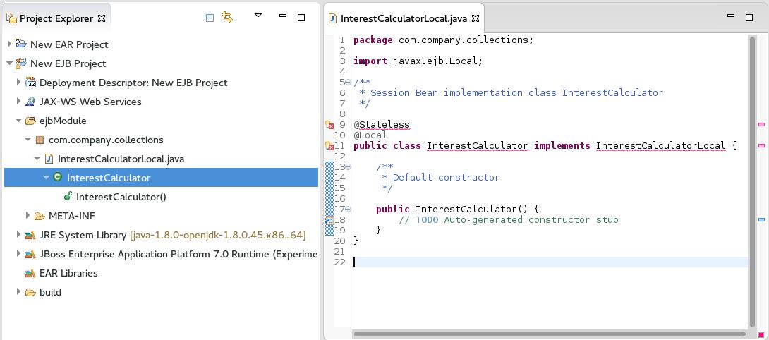 New Session Bean in Red Hat JBoss Developer Studio