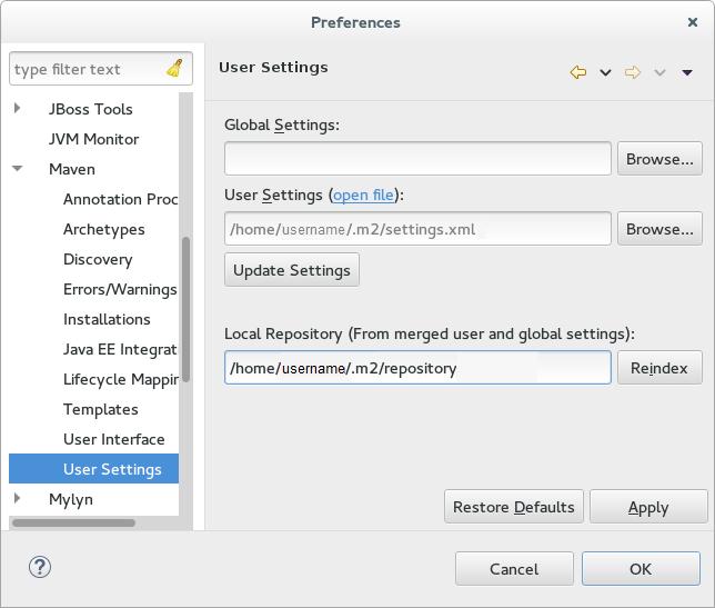 The Update Maven User Settings screen shot