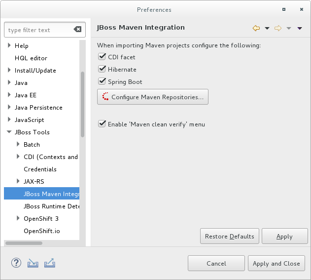 JBoss Maven Integration Pane in the Preferences Window