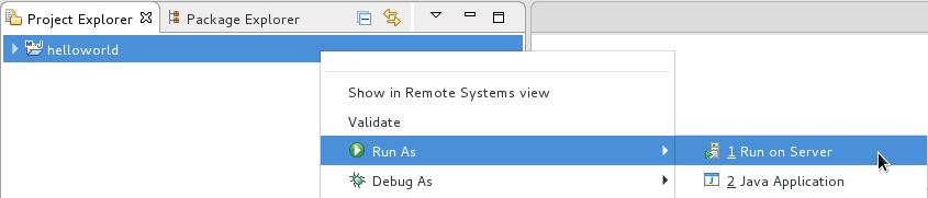 The *Run As* → *Run on Server* screen capture.